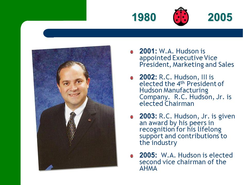 1980 2005 2001: W.A. Hudson is appointed Executive Vice President, Marketing and Sales.