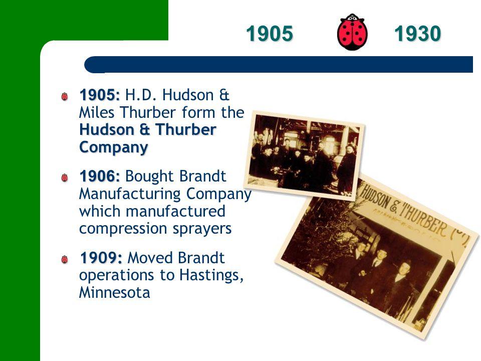 1905 1930 1905: H.D. Hudson & Miles Thurber form the Hudson & Thurber Company.