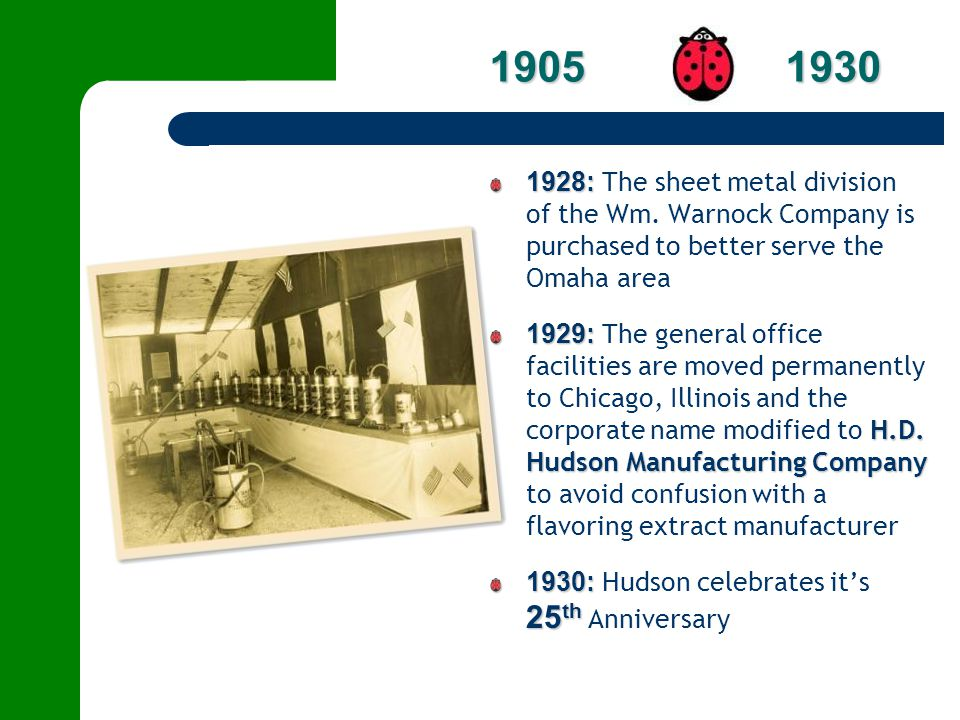 1905 1930 1928: The sheet metal division of the Wm. Warnock Company is purchased to better serve the Omaha area.