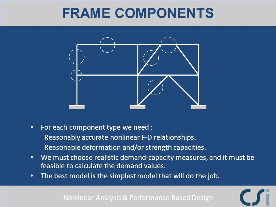 FRAME COMPONENTS For each component type we need :