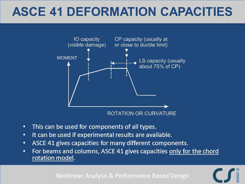 ASCE 41 DEFORMATION CAPACITIES