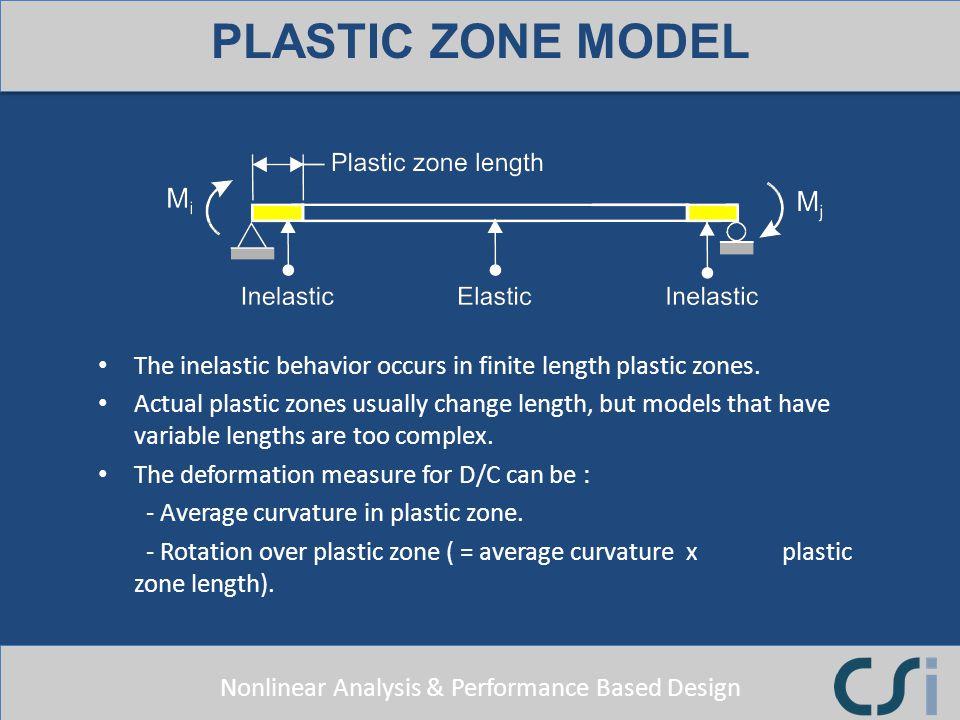 PLASTIC ZONE MODEL The inelastic behavior occurs in finite length plastic zones.