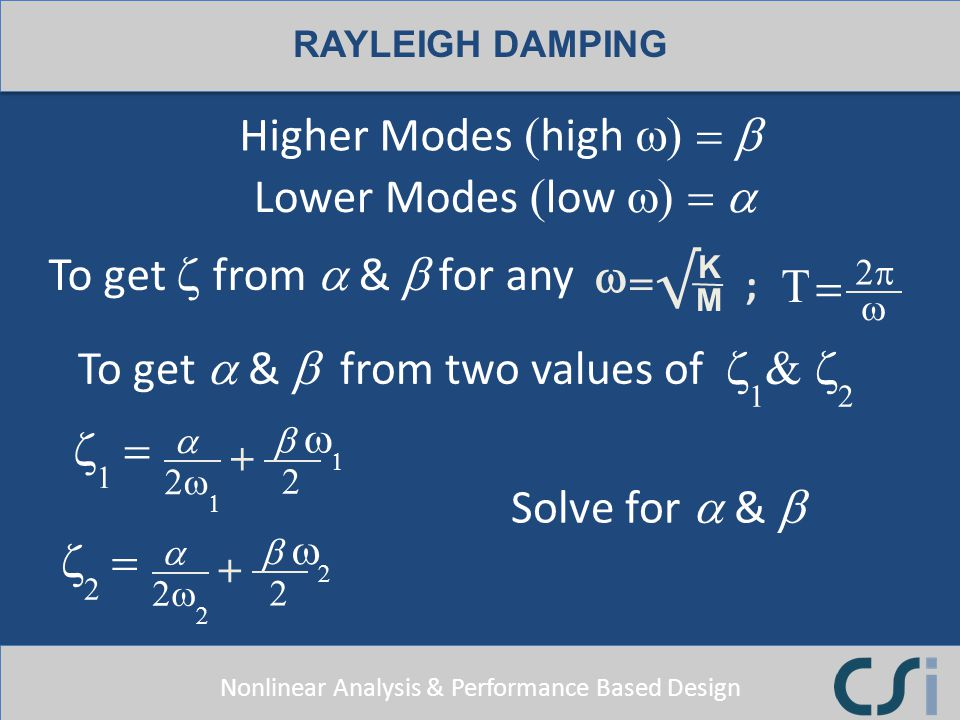 Higher Modes (high w) = b