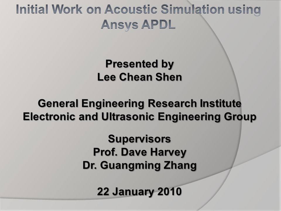 Initial Work on Acoustic Simulation using Ansys APDL