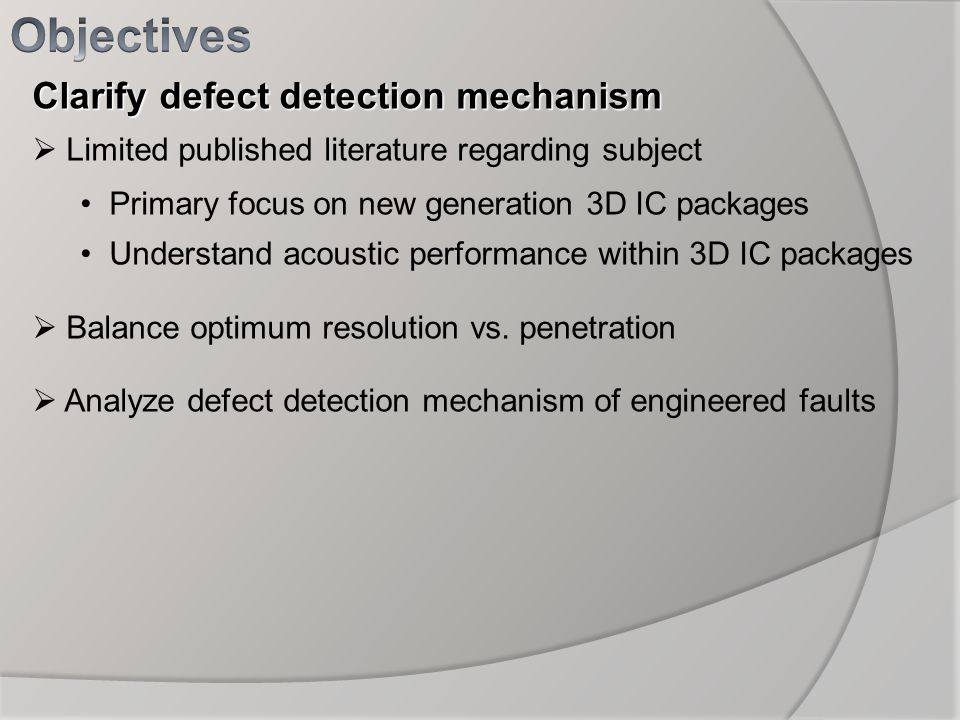 Objectives Clarify defect detection mechanism