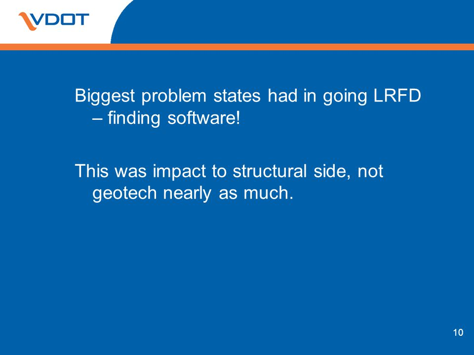 Biggest problem states had in going LRFD – finding software