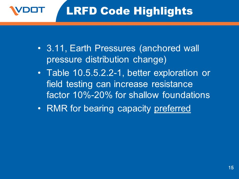 LRFD Code Highlights 3.11, Earth Pressures (anchored wall pressure distribution change)