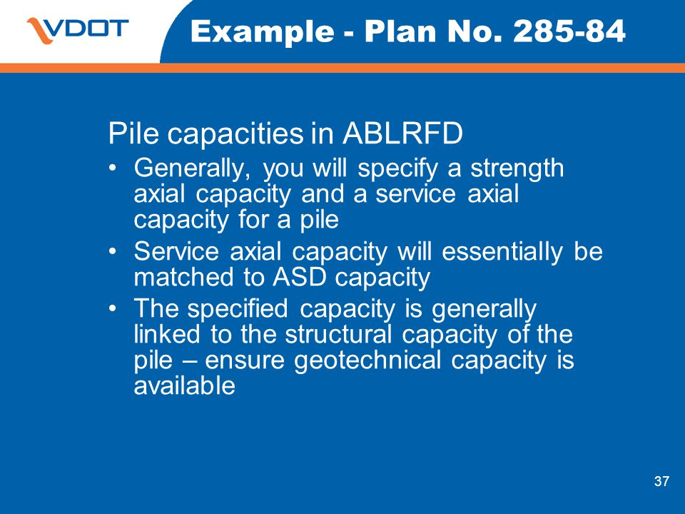 Pile capacities in ABLRFD
