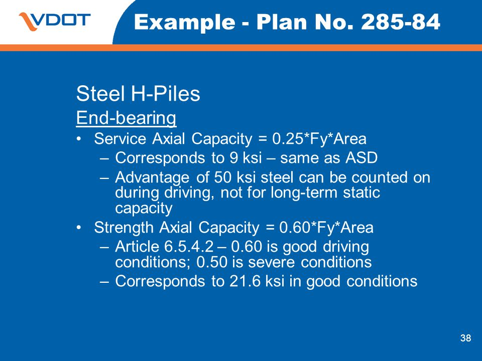 Example - Plan No Steel H-Piles End-bearing