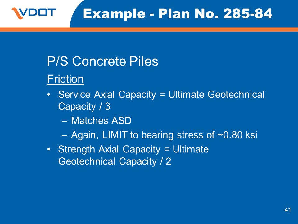 Example - Plan No. 285-84 P/S Concrete Piles Friction