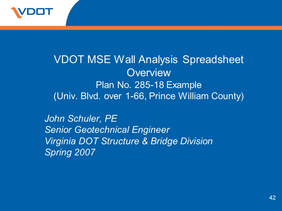 VDOT MSE Wall Analysis Spreadsheet Overview