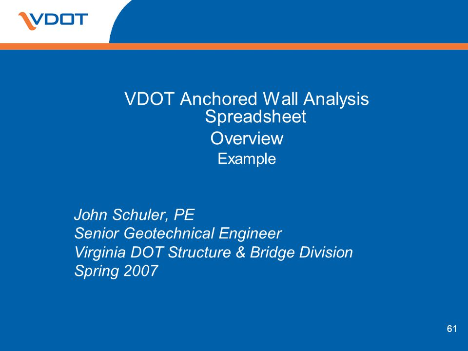 VDOT Anchored Wall Analysis Spreadsheet