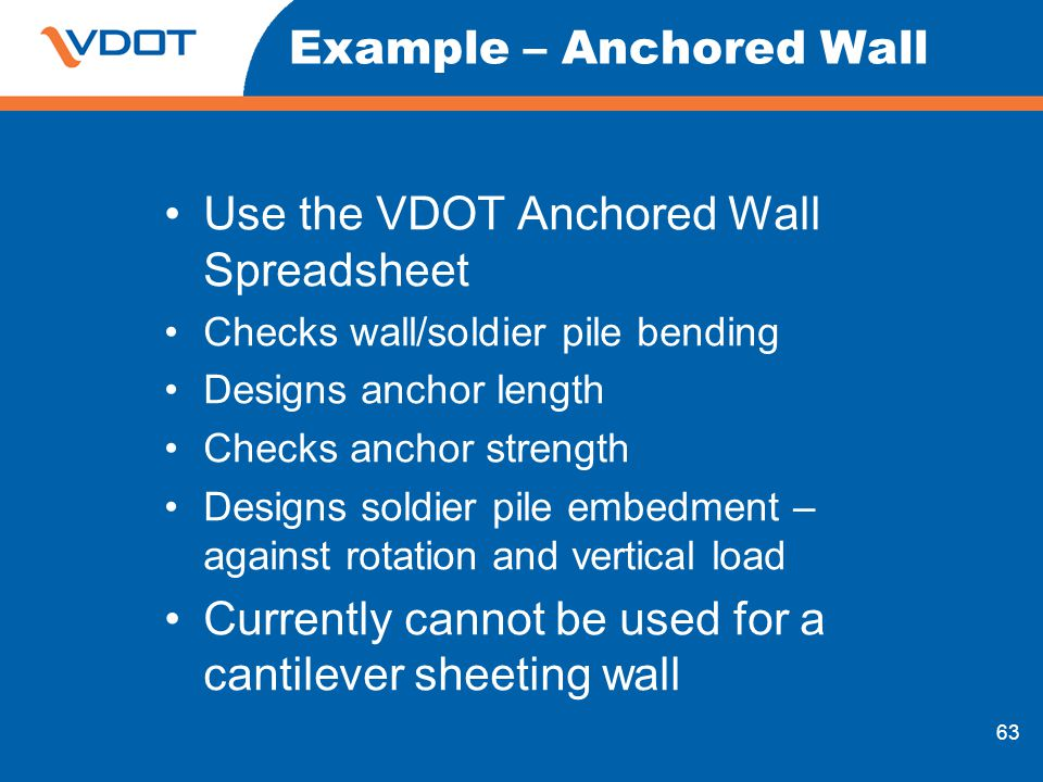Example – Anchored Wall