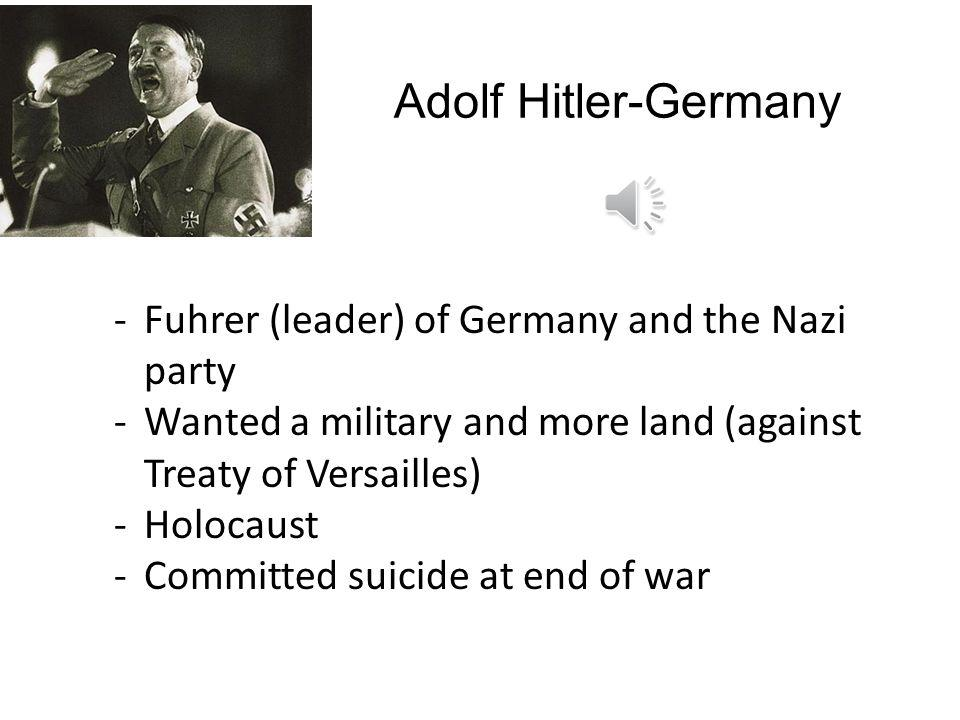 Adolf Hitler-Germany Fuhrer (leader) of Germany and the Nazi party