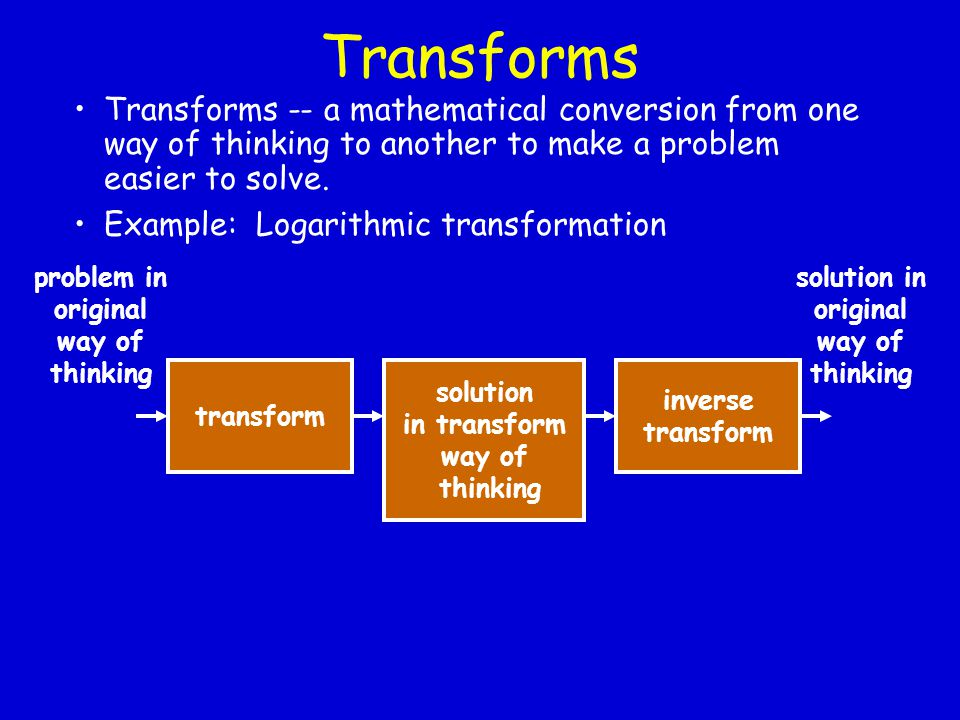 Transforms Transforms -- a mathematical conversion from one way of thinking to another to make a problem easier to solve.