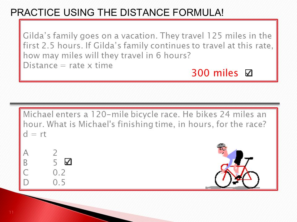 PRACTICE USING THE DISTANCE FORMULA!