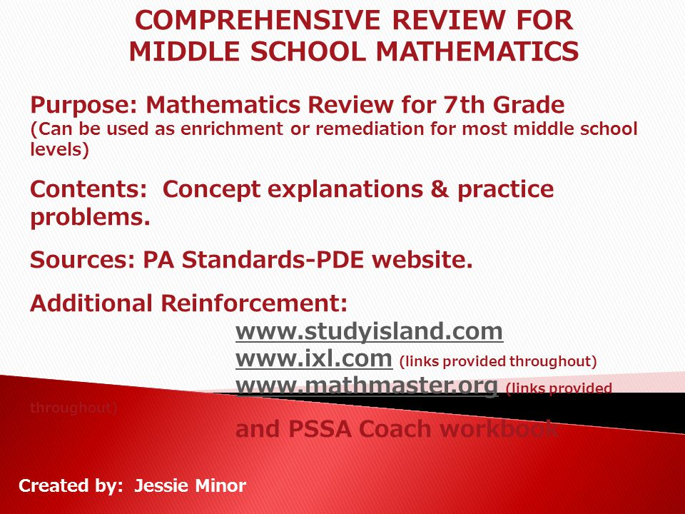 COMPREHENSIVE REVIEW FOR MIDDLE SCHOOL MATHEMATICS