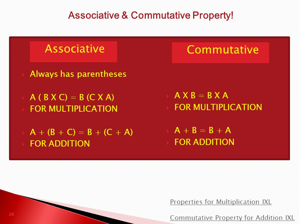Associative & Commutative Property!