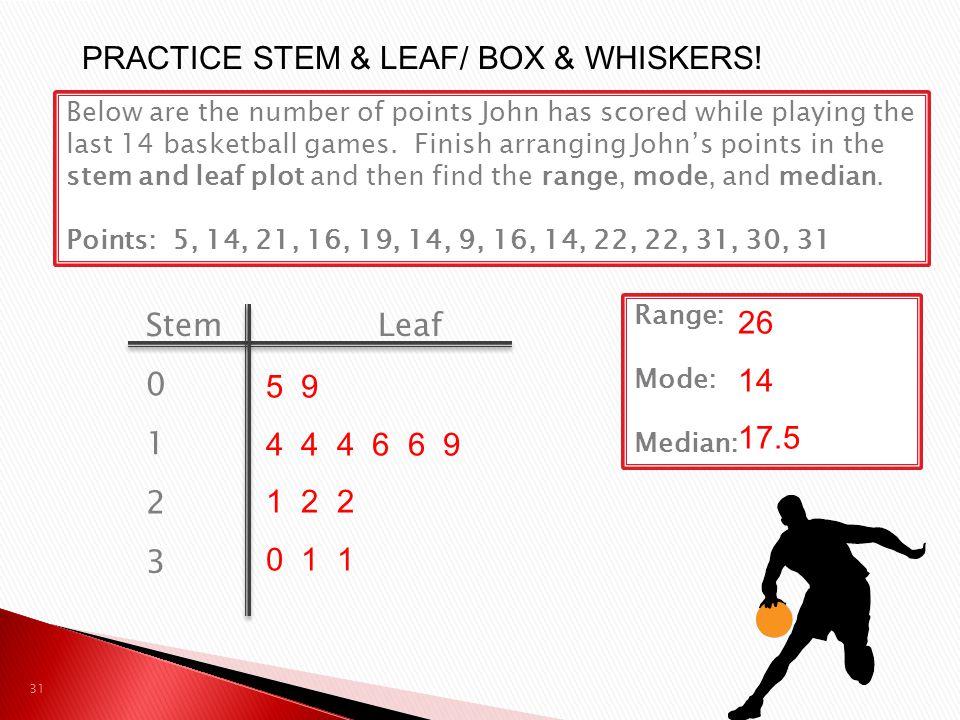 PRACTICE STEM & LEAF/ BOX & WHISKERS!