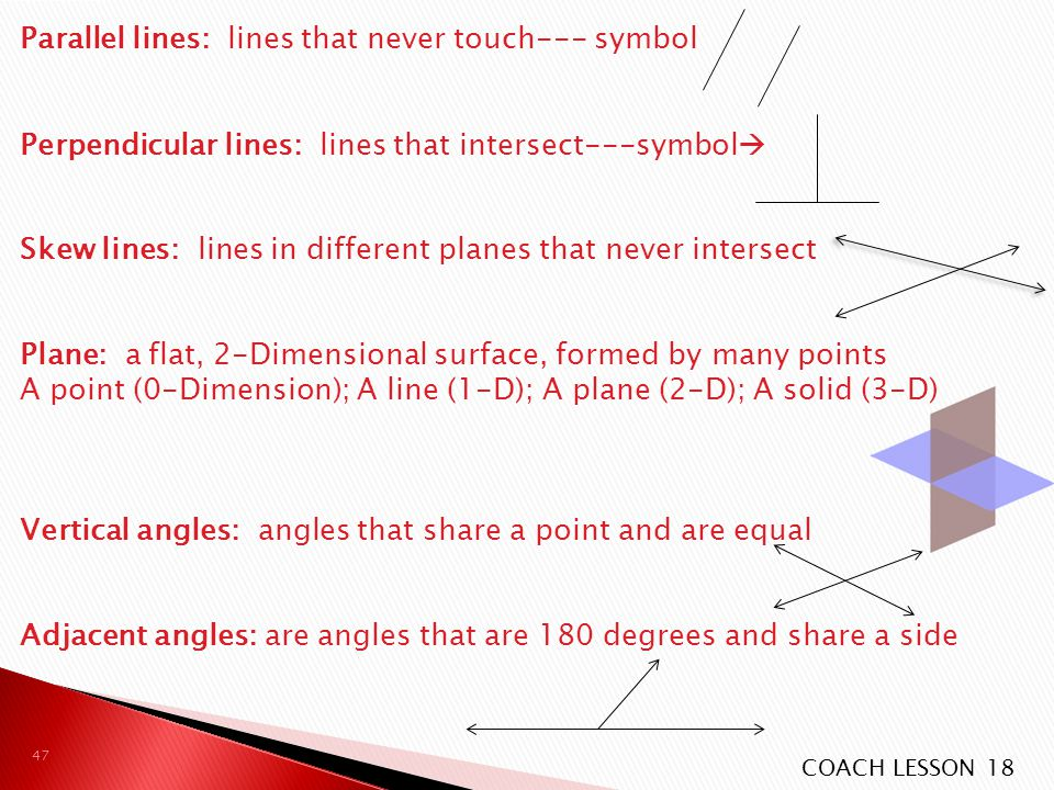 Parallel lines: lines that never touch--- symbol