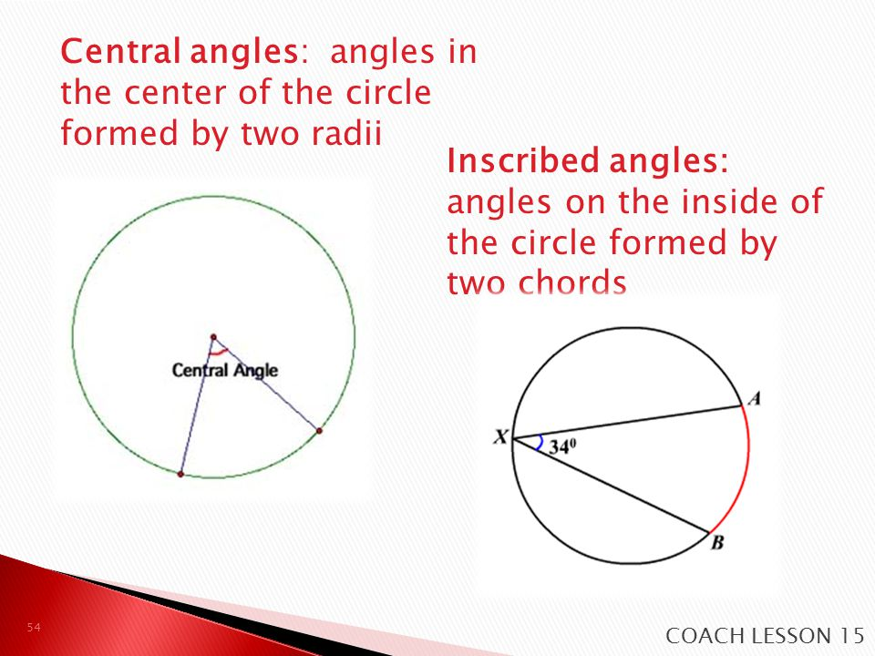 Central angles: angles in the center of the circle formed by two radii