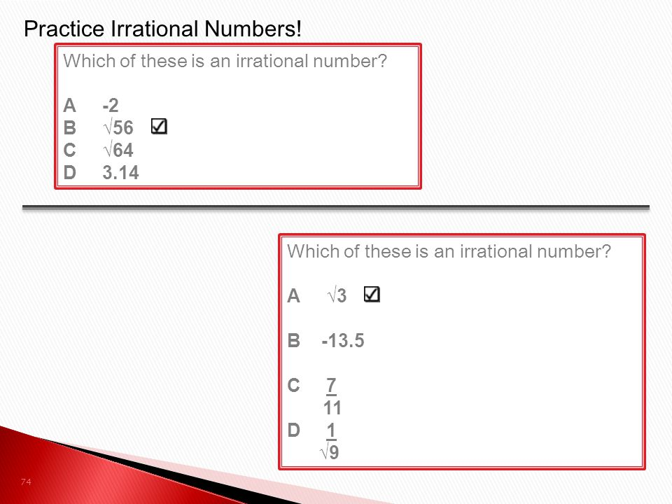 Practice Irrational Numbers!
