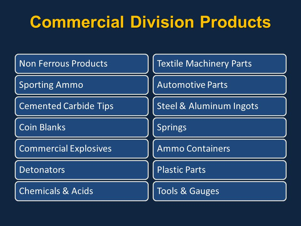 Commercial Division Products
