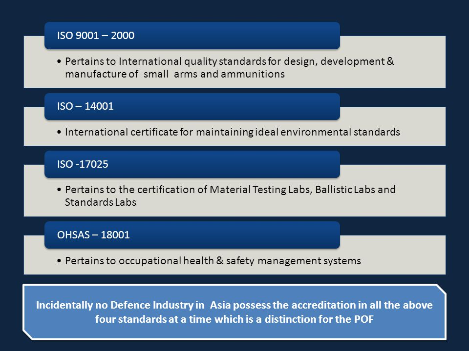 Pertains to International quality standards for design, development & manufacture of small arms and ammunitions