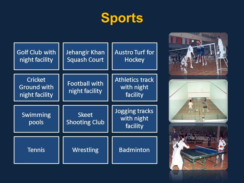 Sports Golf Club with night facility Jehangir Khan Squash Court