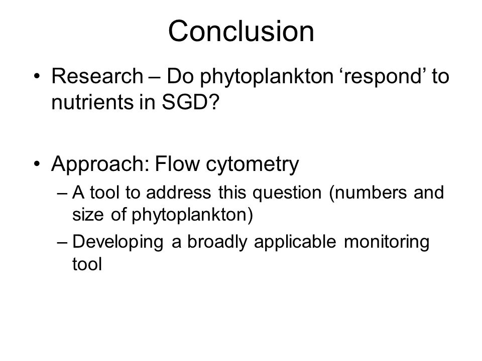 Conclusion Research – Do phytoplankton 'respond' to nutrients in SGD
