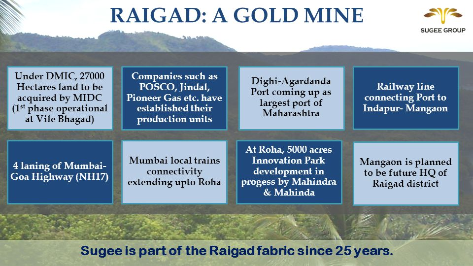 RAIGAD: A GOLD MINE Sugee is part of the Raigad fabric since 25 years.