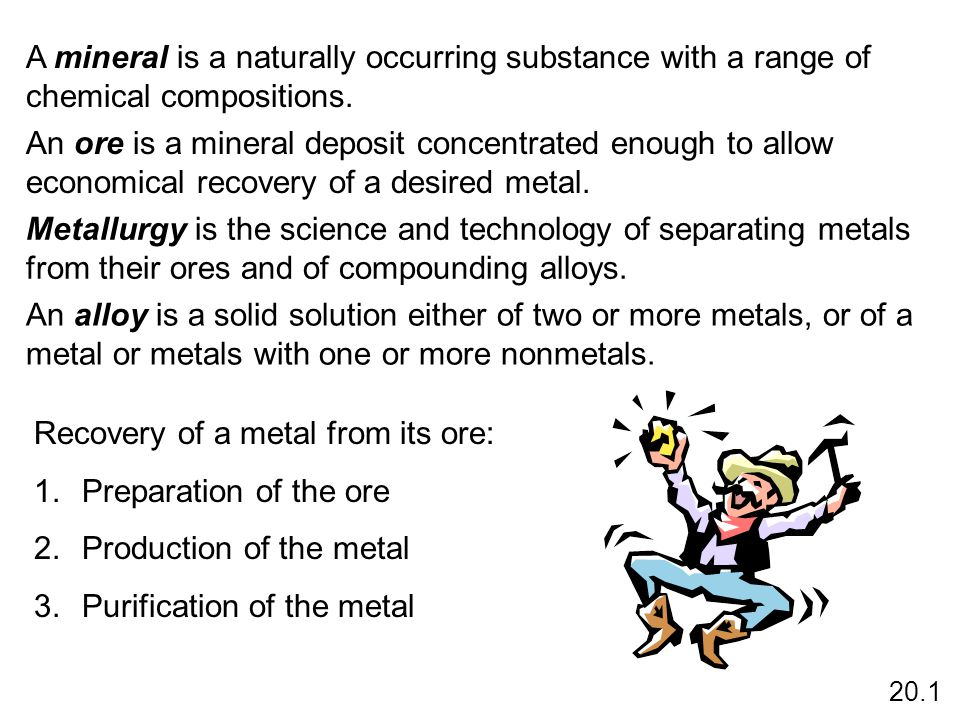 Recovery of a metal from its ore: Preparation of the ore