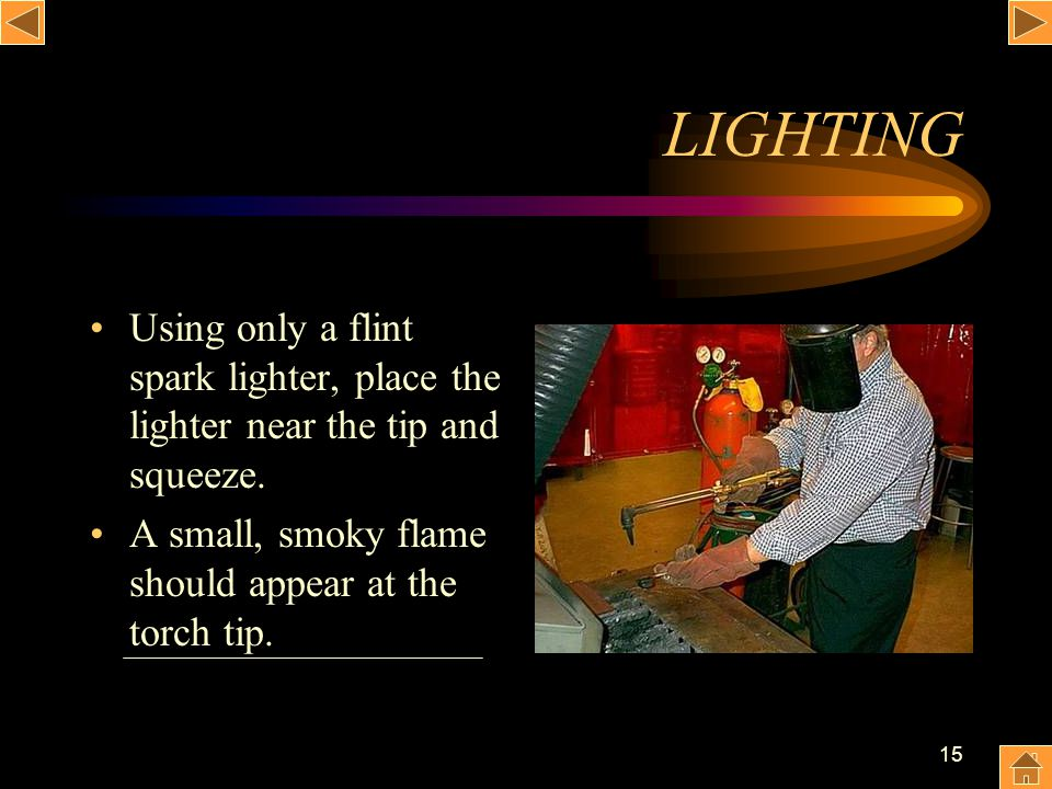 LIGHTING Using only a flint spark lighter, place the lighter near the tip and squeeze.