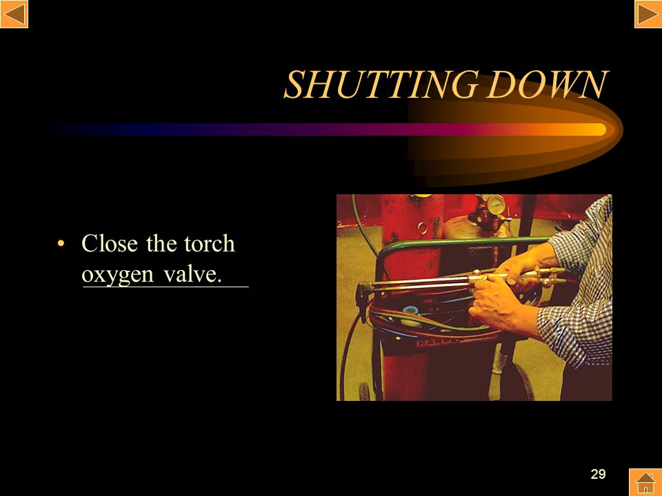 SHUTTING DOWN Close the torch oxygen valve.
