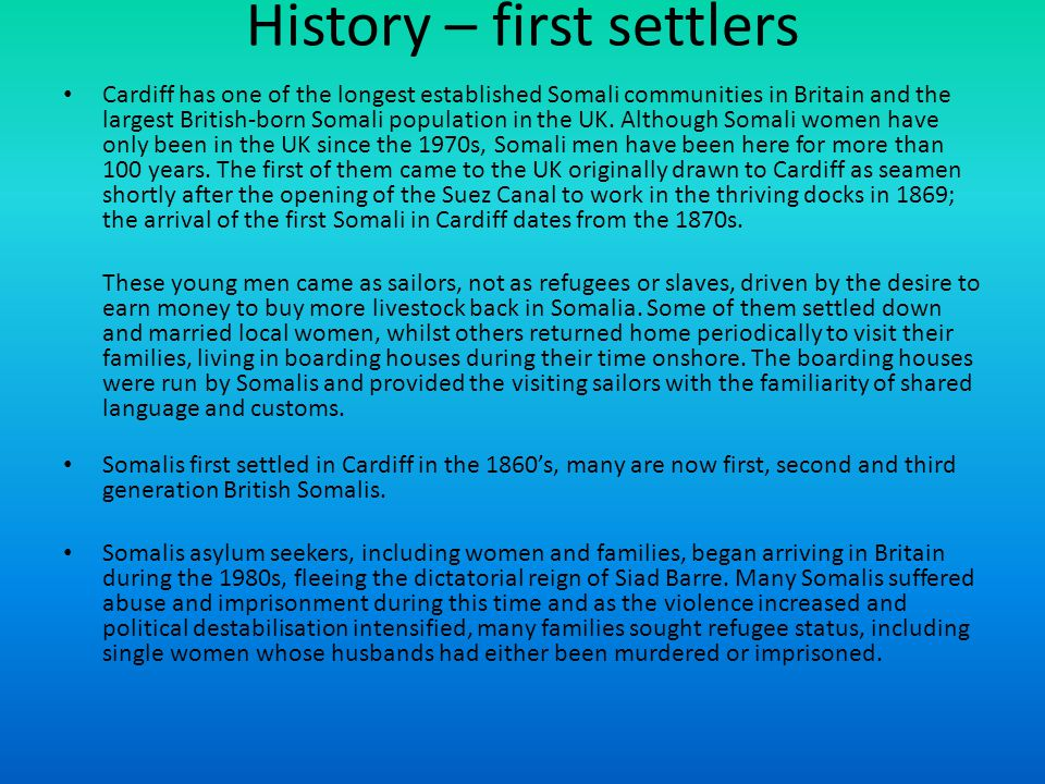 History – first settlers