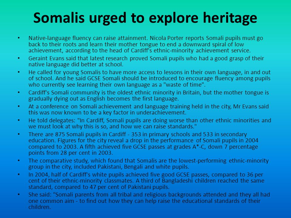 Somalis urged to explore heritage