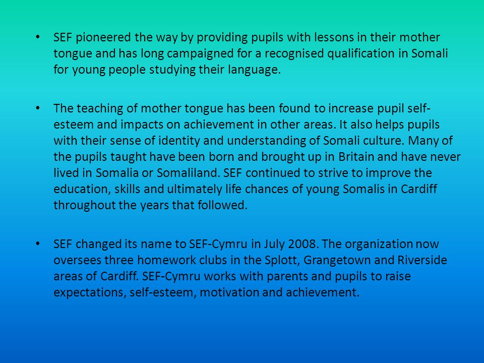 SEF pioneered the way by providing pupils with lessons in their mother tongue and has long campaigned for a recognised qualification in Somali for young people studying their language.