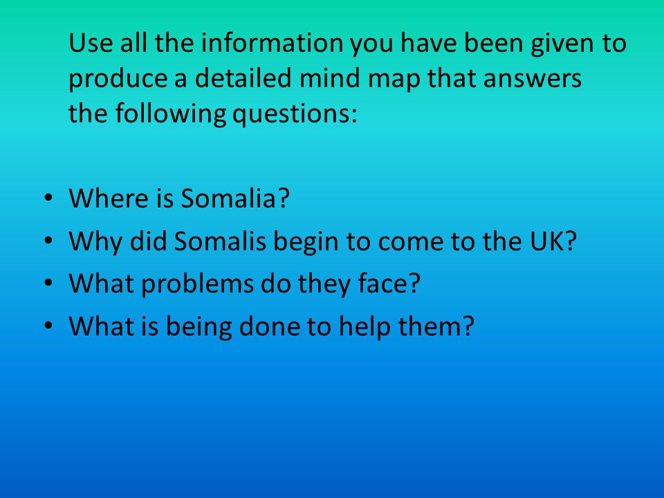 Use all the information you have been given to produce a detailed mind map that answers the following questions: