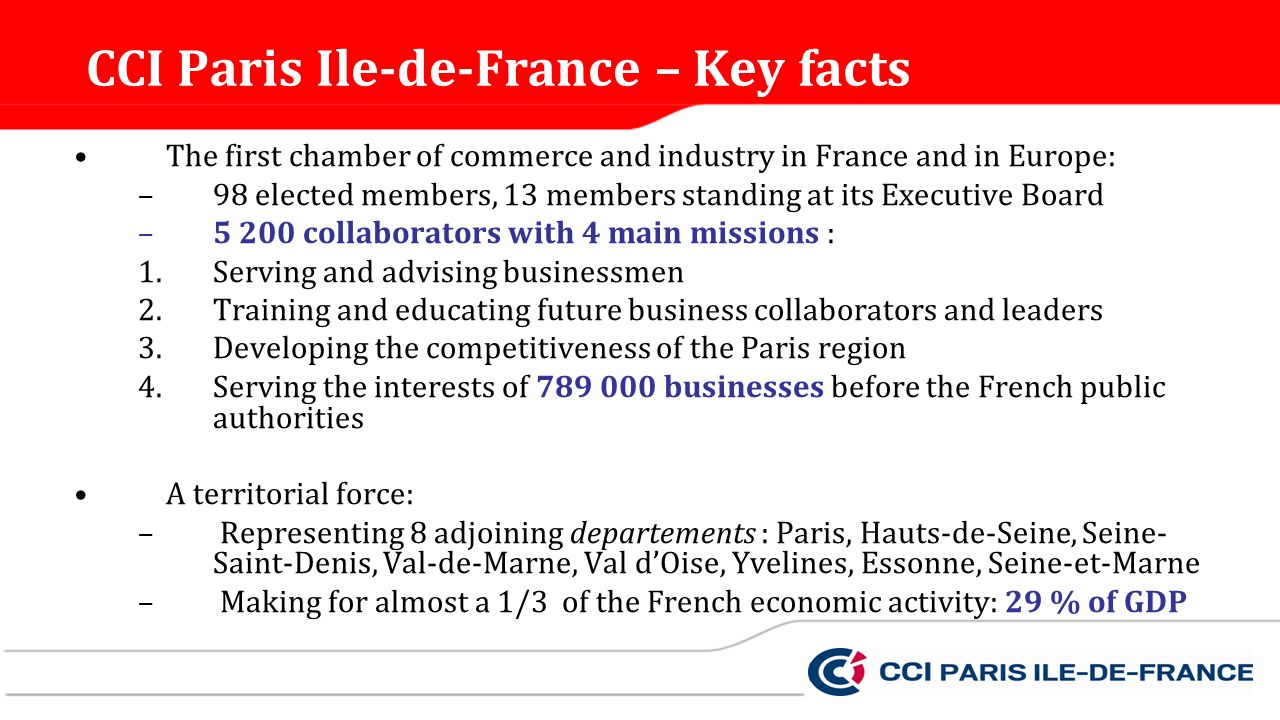 CCI Paris Ile-de-France – Key facts