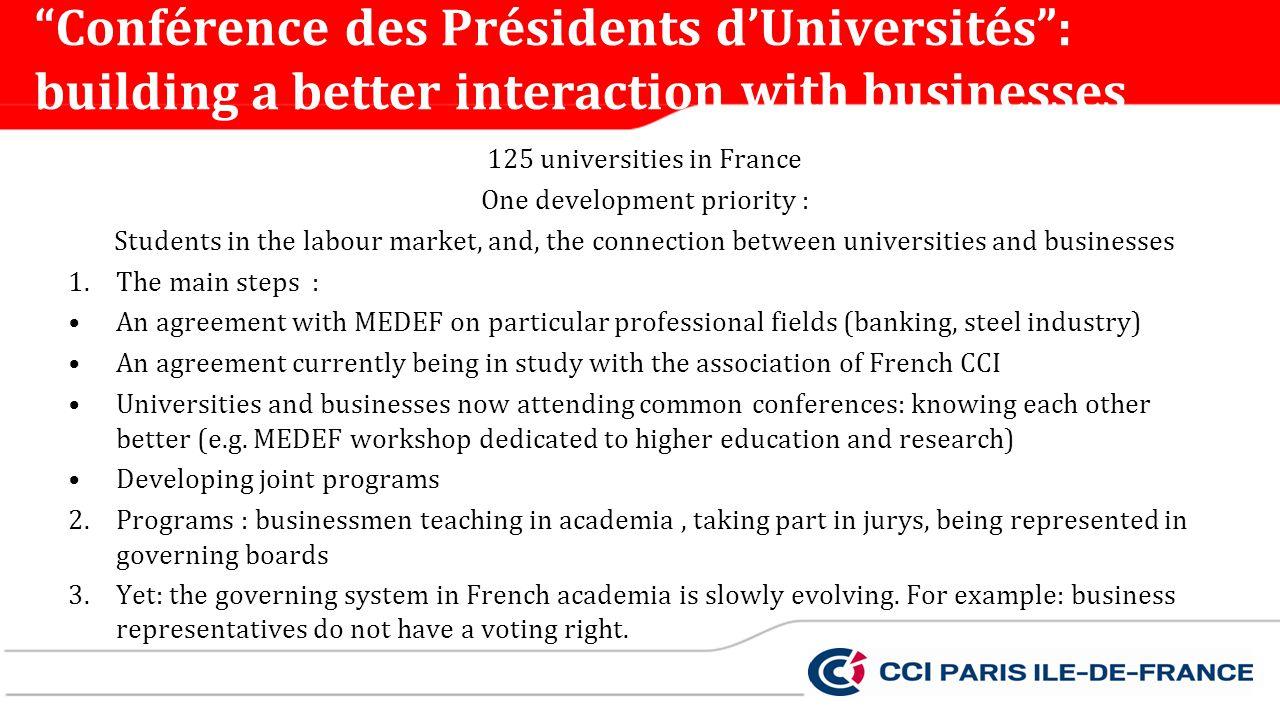 Conférence des Présidents d'Universités : building a better interaction with businesses