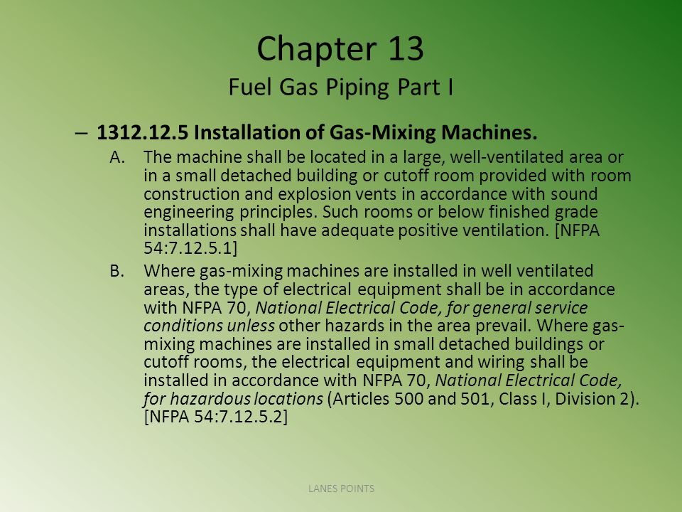 Chapter 13 Fuel Gas Piping Part I