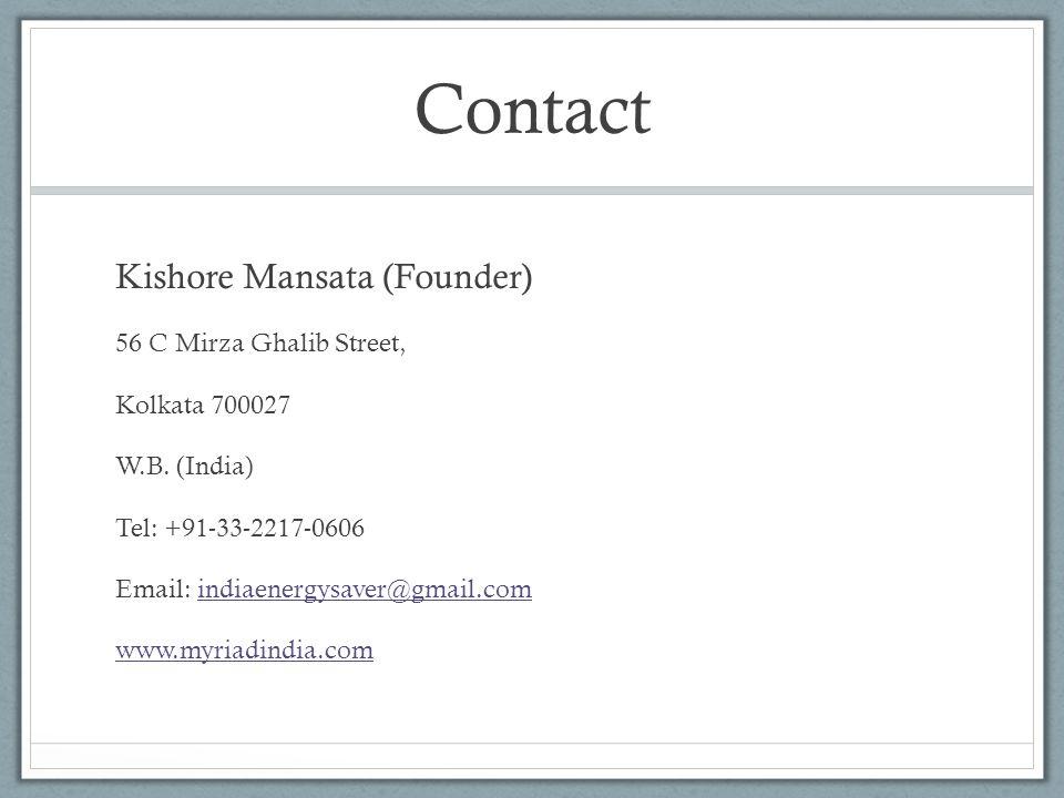 Contact Kishore Mansata (Founder) 56 C Mirza Ghalib Street,