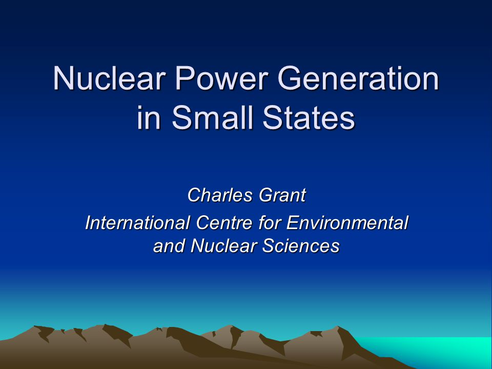 Nuclear Power Generation in Small States