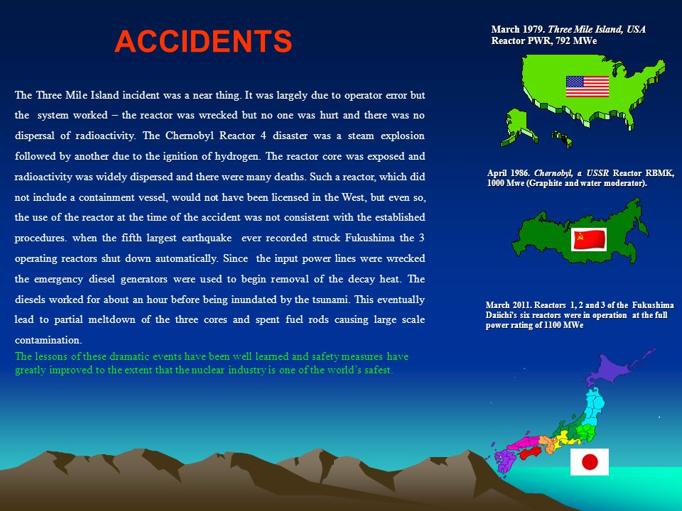 ACCIDENTS March 1979. Three Mile Island, USA Reactor PWR, 792 MWe.