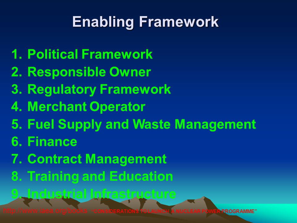 Enabling Framework Political Framework Responsible Owner