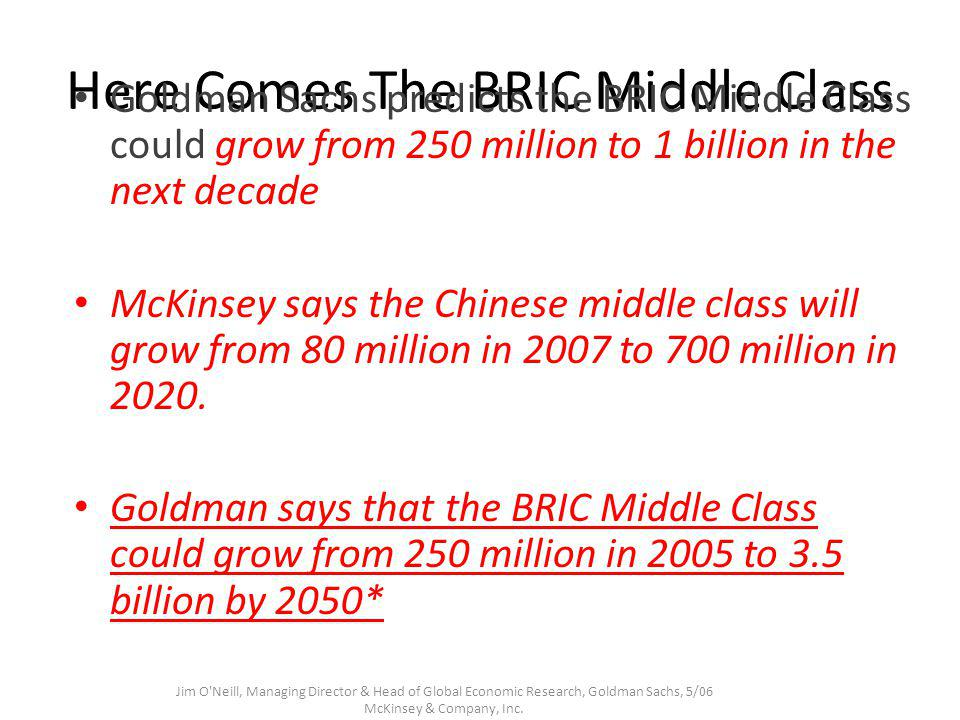 Here Comes The BRIC Middle Class