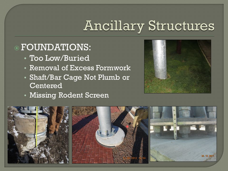 Ancillary Structures FOUNDATIONS: Too Low/Buried Too Low/Buried