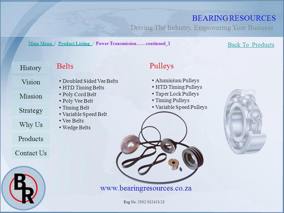 BEARING RESOURCES Belts Pulleys www.bearingresources.co.za