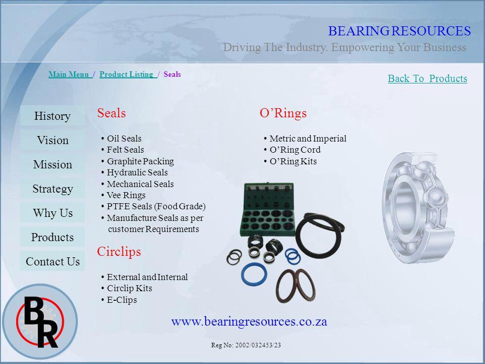 BEARING RESOURCES Seals O'Rings Circlips www.bearingresources.co.za