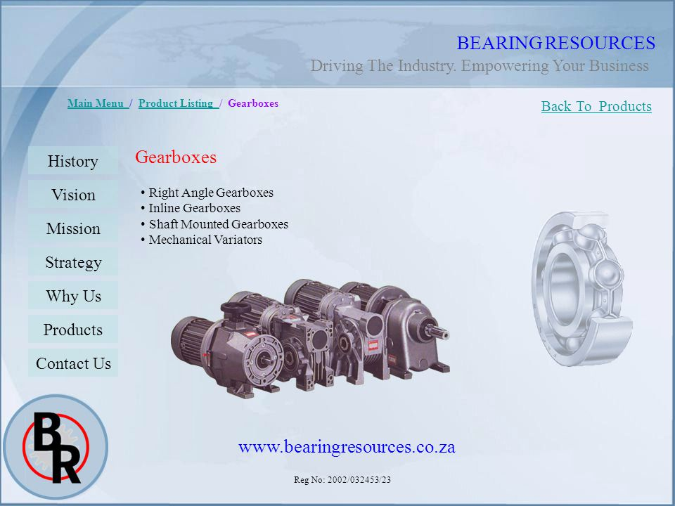 BEARING RESOURCES Gearboxes www.bearingresources.co.za